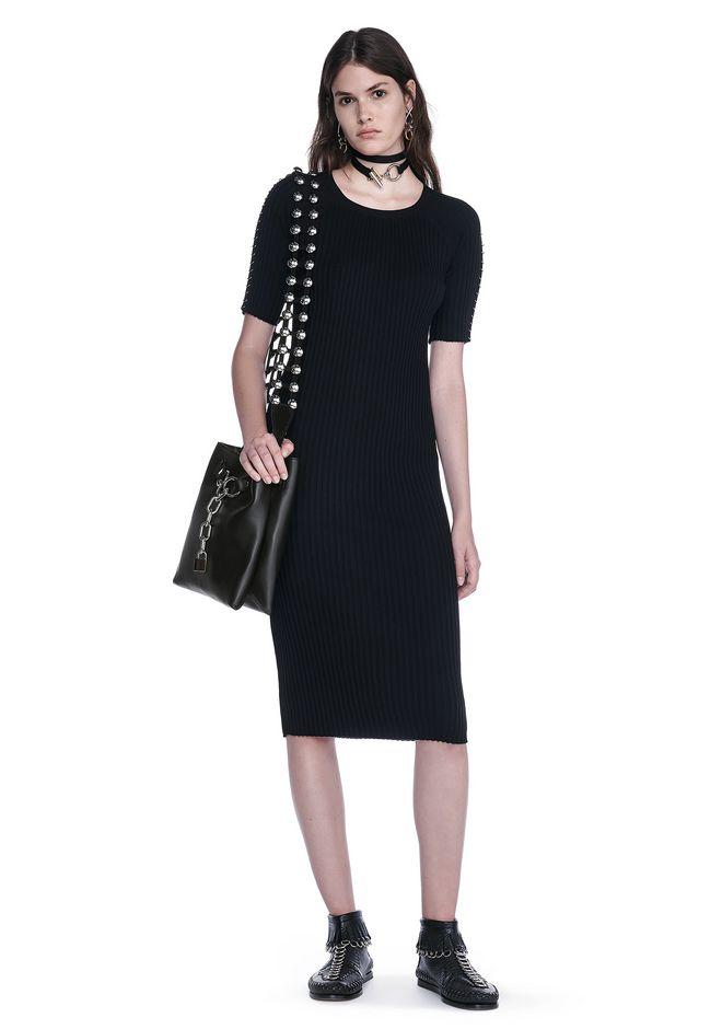 ALEXANDER WANG CREW NECK TEE DRESS WITH PIERCED SLEEVES 3/4 length dress Adult 12_n_f