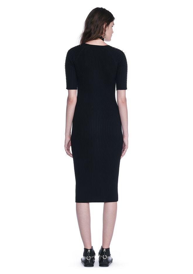 ALEXANDER WANG CREW NECK TEE DRESS WITH PIERCED SLEEVES 3/4 length dress Adult 12_n_r