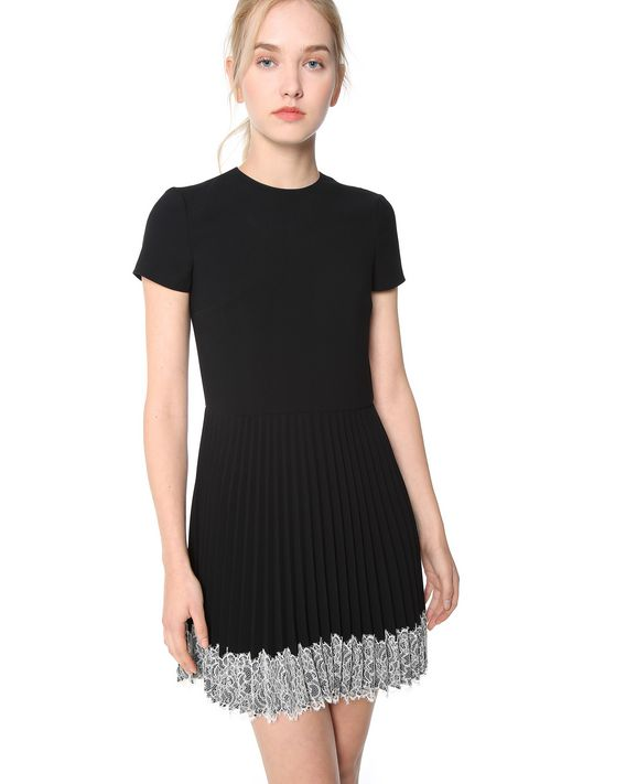 REDValentino LACE DETAIL PLEATED CREPE DRESS