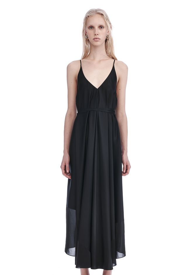 T by ALEXANDER WANG 3/4 Length dresses SILK CHARMEUSE TRAPEZE MIDI DRESS