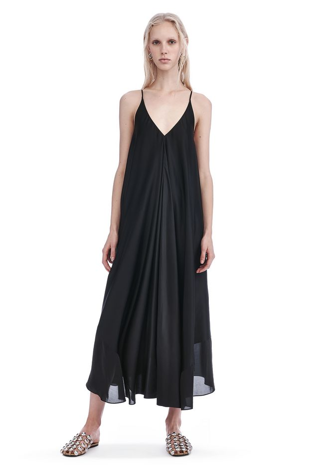 T by ALEXANDER WANG 3/4 Length dresses Women SILK CHARMEUSE TRAPEZE MIDI DRESS