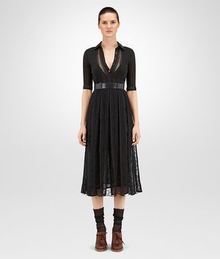 DRESS IN NERO LACE COTTON VISCOSE , LEATHER DETAILS