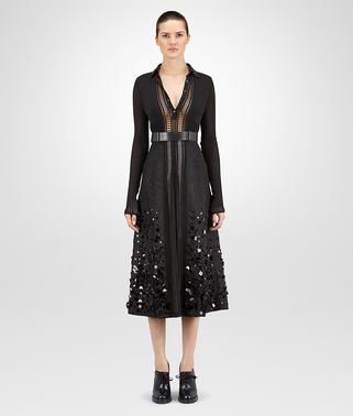 DRESS IN NERO COTTON VISCOSE NERO CALF , EMBROIDERED AND LEATHER DETAILS