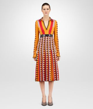 DRESS IN MULTICOLOR COTTON VISCOSE , EMBROIDERED DETAILS