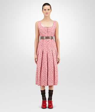 DRESS IN LIGHT DUSTY ROSE PRINTED COTTON LINEN, LEATHER DETAILS