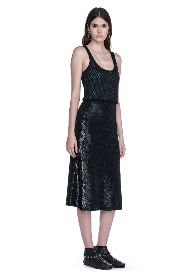 ALEXANDER WANG new-arrivals-ready-to-wear-woman SEQUIN TANK DRESS WITH MESH OVERLAY