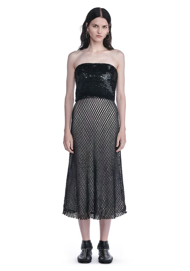 ALEXANDER WANG Long dresses Women SEQUIN BUSTIER DRESS WITH MESH OVERLAY