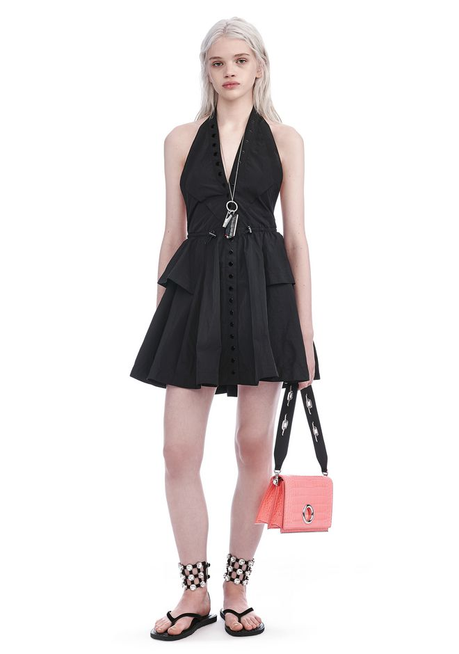 ALEXANDER WANG exclusives EXCLUSIVE BACKLESS HALTER DRESS WITH SNAP PLACKET