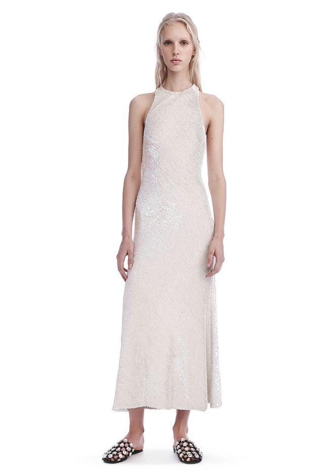 ALEXANDER WANG Long dresses Women SEQUIN RACER FRONT DRESS WITH CUTAWAY BACK