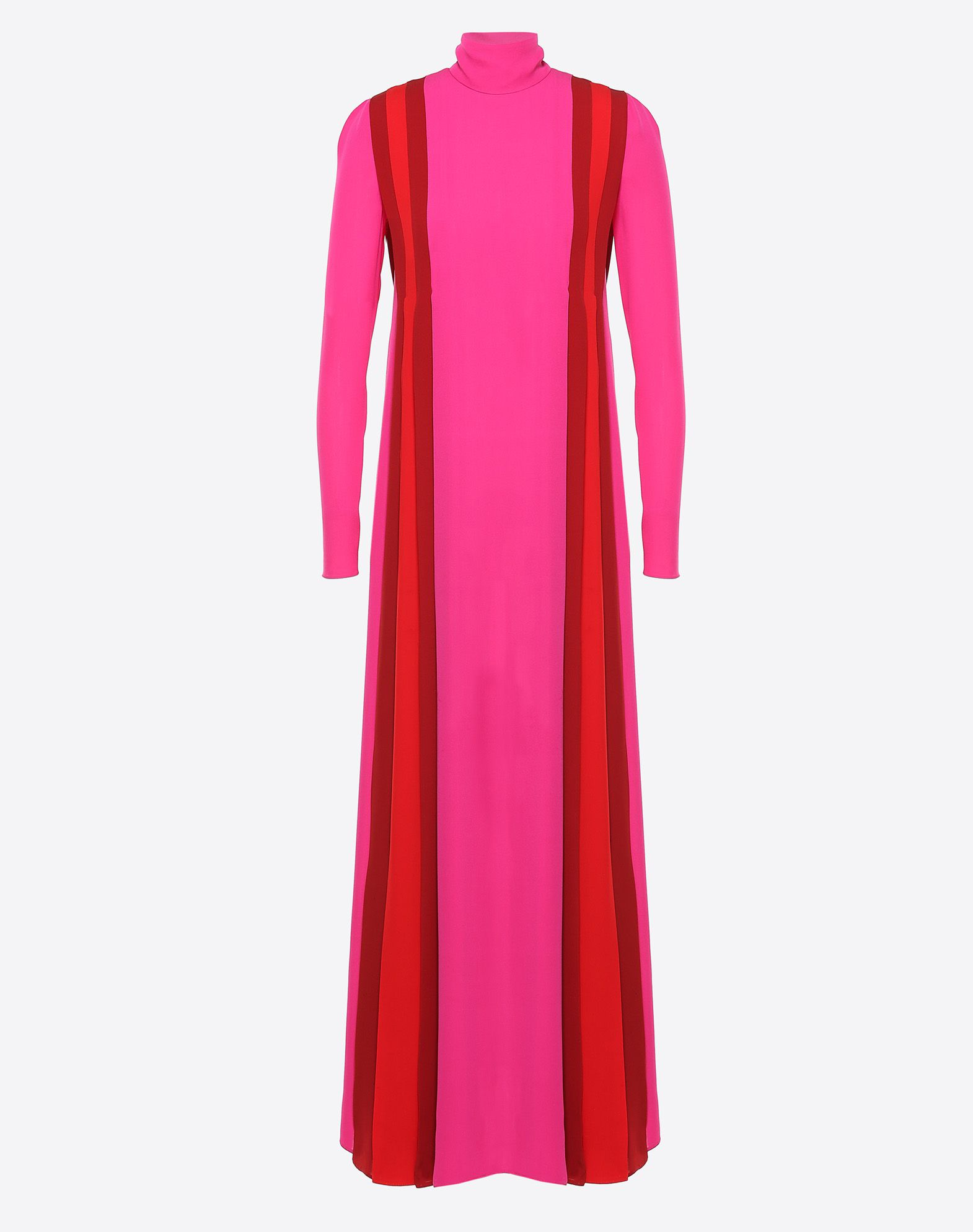 VALENTINO Crêpe Turtleneck Rear zip closure Internal slip dress Pleated detailing Long sleeves  34722490sd
