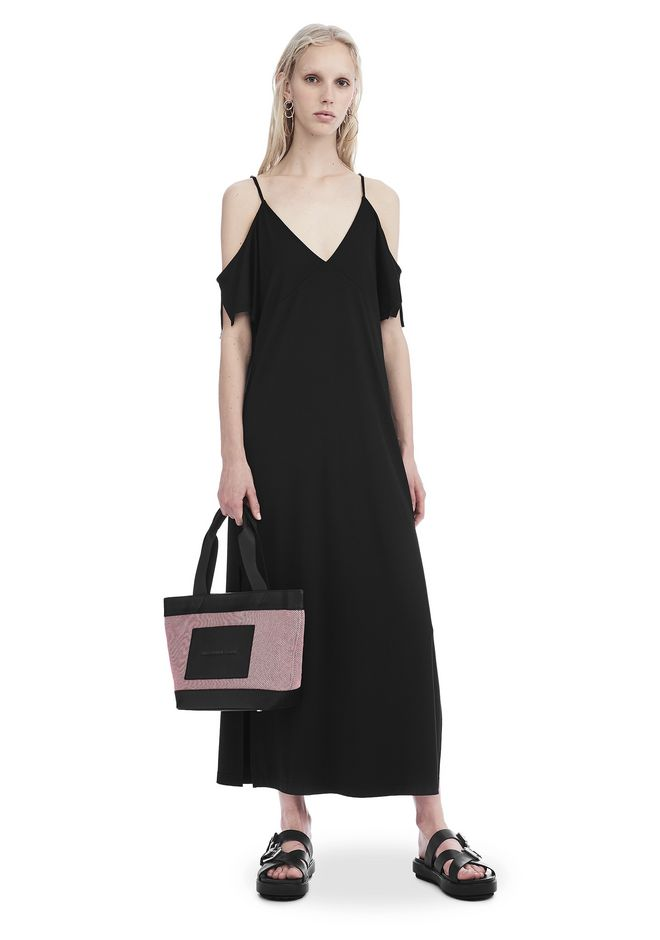 T by ALEXANDER WANG new-arrivals-t-by-alexander-wang-woman LUX PONTE COLD SHOULDER MIDI DRESS