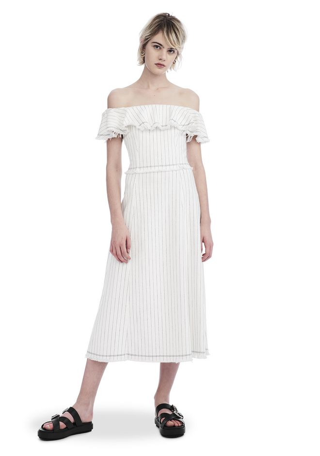 T by ALEXANDER WANG new-arrivals COTTON BURLAP OFF THE SHOULDER MIDI DRESS