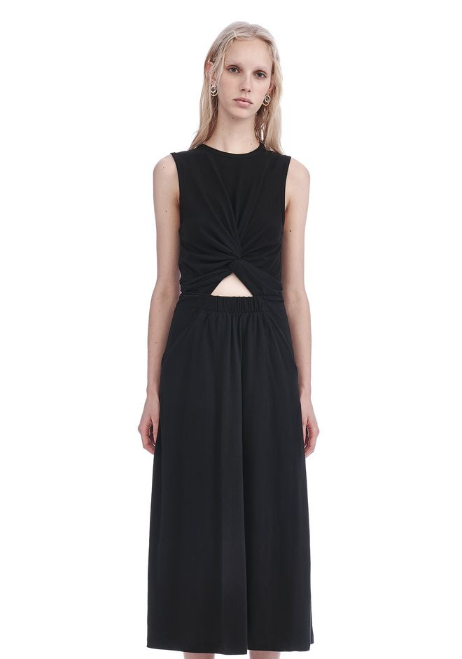 T by ALEXANDER WANG Long dresses FRONT TWIST SLEEVELESS MIDI DRESS