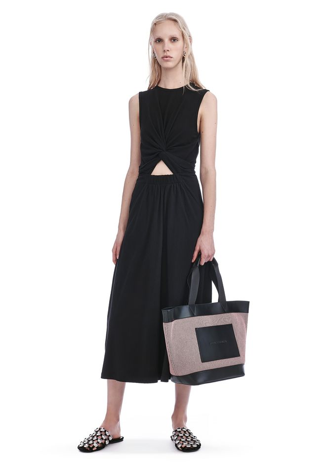 T by ALEXANDER WANG new-arrivals-t-by-alexander-wang-woman FRONT TWIST SLEEVELESS MIDI DRESS