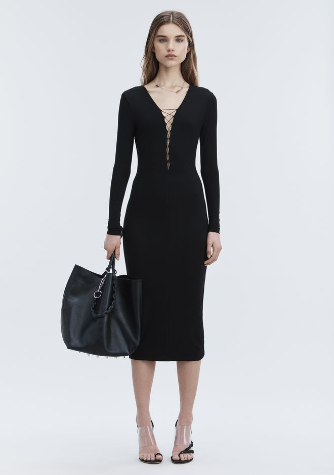 T by ALEXANDER WANG new-arrivals-t-by-alexander-wang-woman MODAL LACE-UP MIDI LONG SLEEVE DRESS