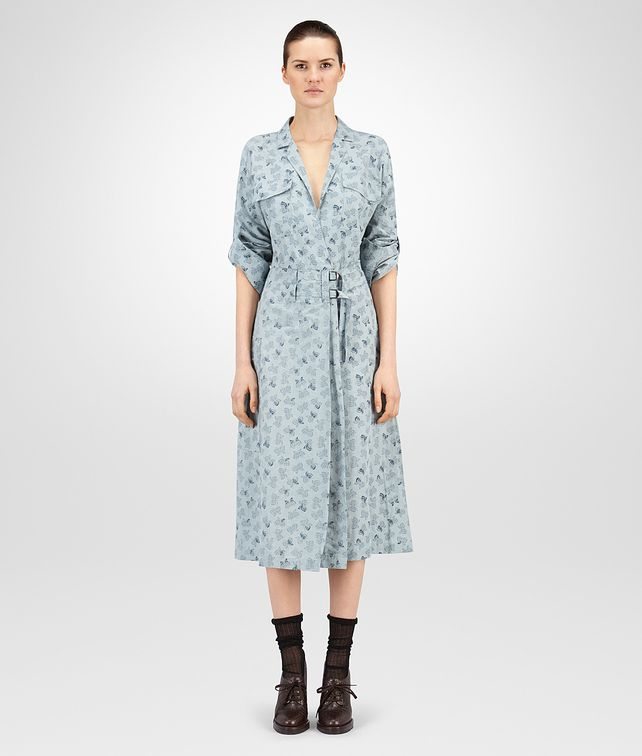 DRESS IN LIGHT AIR FORCE BLUE PRINTED LINEN
