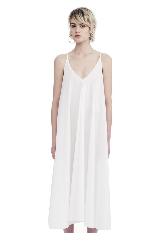 T by ALEXANDER WANG 3/4 Length dresses WASHED COTTON POPLIN SLEEVELESS TRAPEZE DRESS