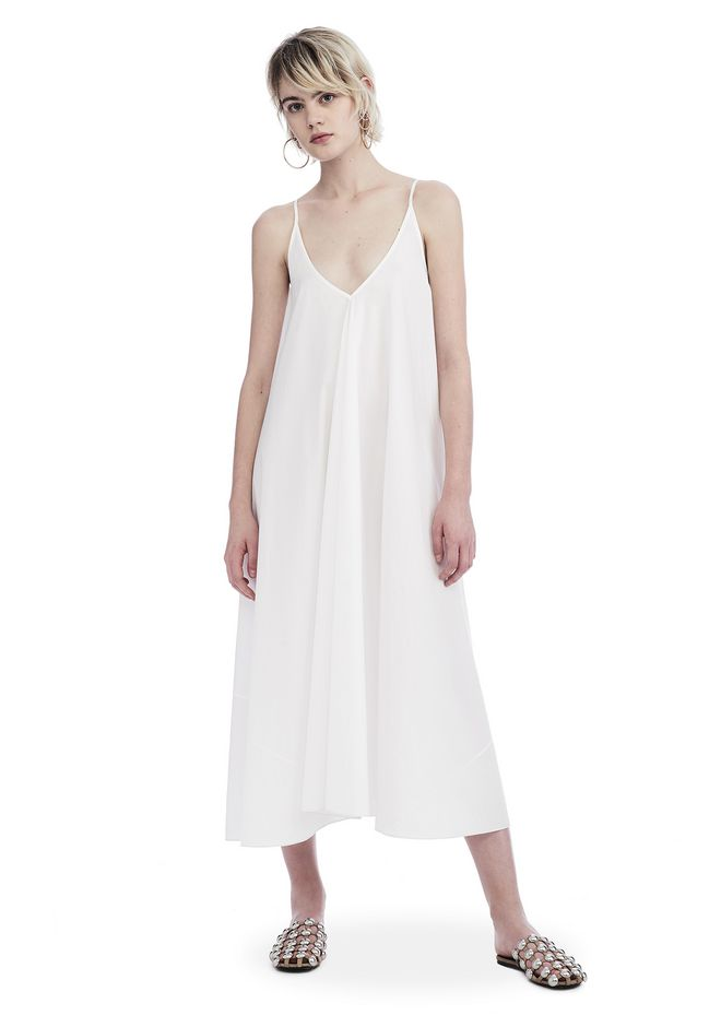 T by ALEXANDER WANG 3/4 Length dresses Women WASHED COTTON POPLIN SLEEVELESS TRAPEZE DRESS