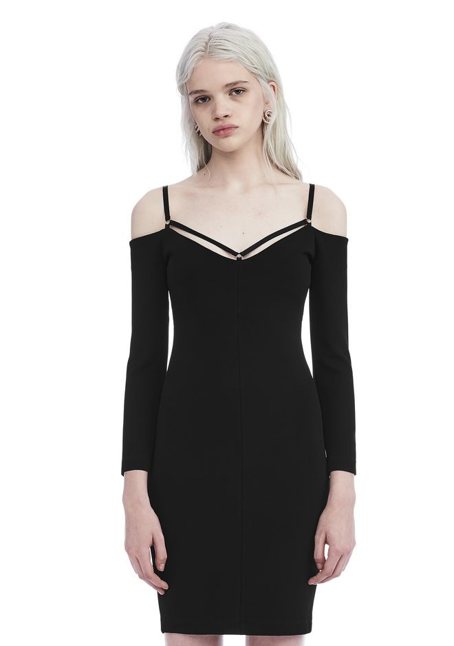 T by ALEXANDER WANG Short Dresses STRAPPY COLD SHOULDER LONG SLEEVE DRESS