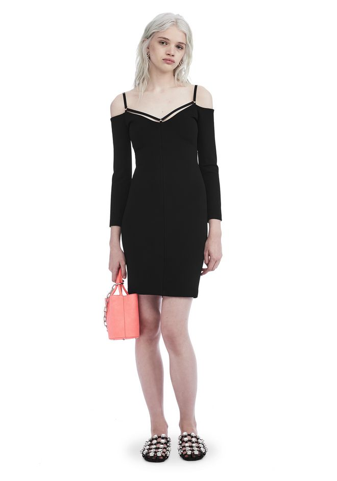 T by ALEXANDER WANG Short Dresses Women STRAPPY COLD SHOULDER LONG SLEEVE DRESS