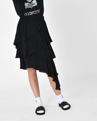 Weez Asymmetric ruffle cupro skirt