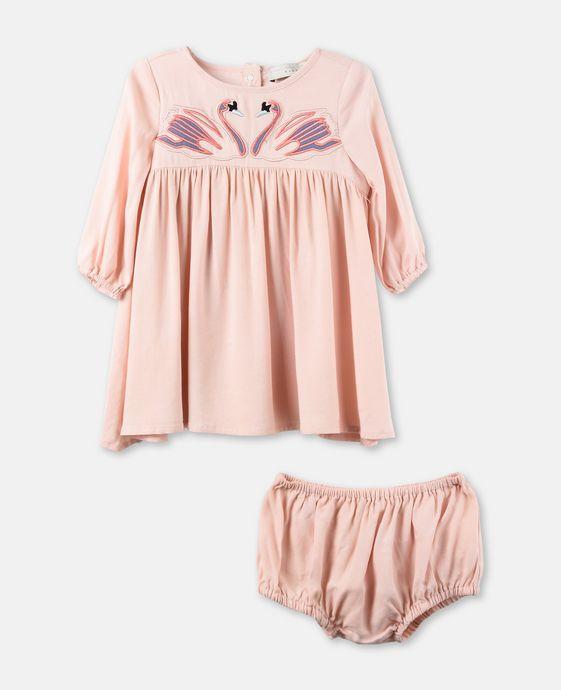 レオニッラ ピンク スワン パッチ ドレス
