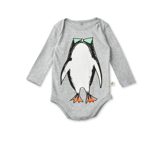 Binky Gray Penguin Print Body