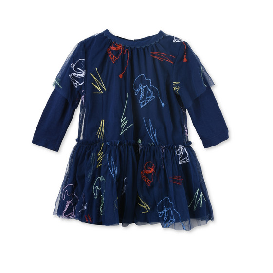 Mouse Blue Scribble and Skate Embroidered Dress