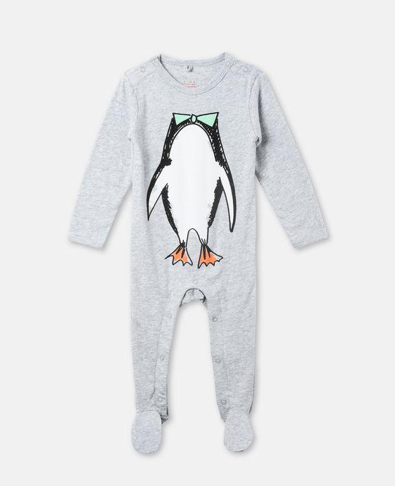 トゥィドゥル グレー ペンギン プリント ベビーグロー