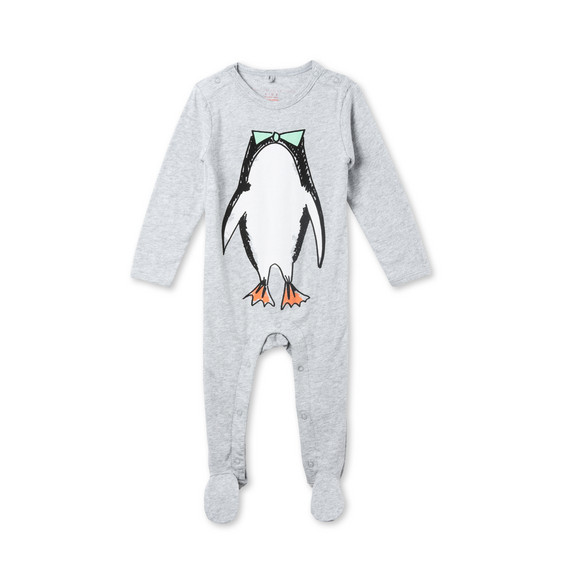 Twiddle Grey Penguin Print Babygrow