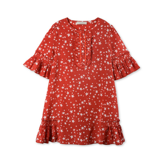 Abigal Red Star Print Dress