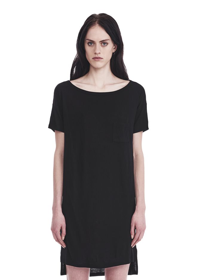 T by ALEXANDER WANG Short Dresses CLASSIC BOATNECK DRESS WITH POCKET