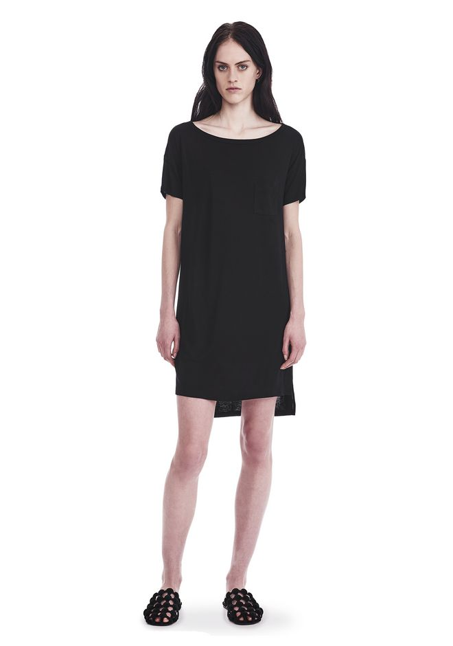 T by ALEXANDER WANG Short Dresses Women CLASSIC BOATNECK DRESS WITH POCKET