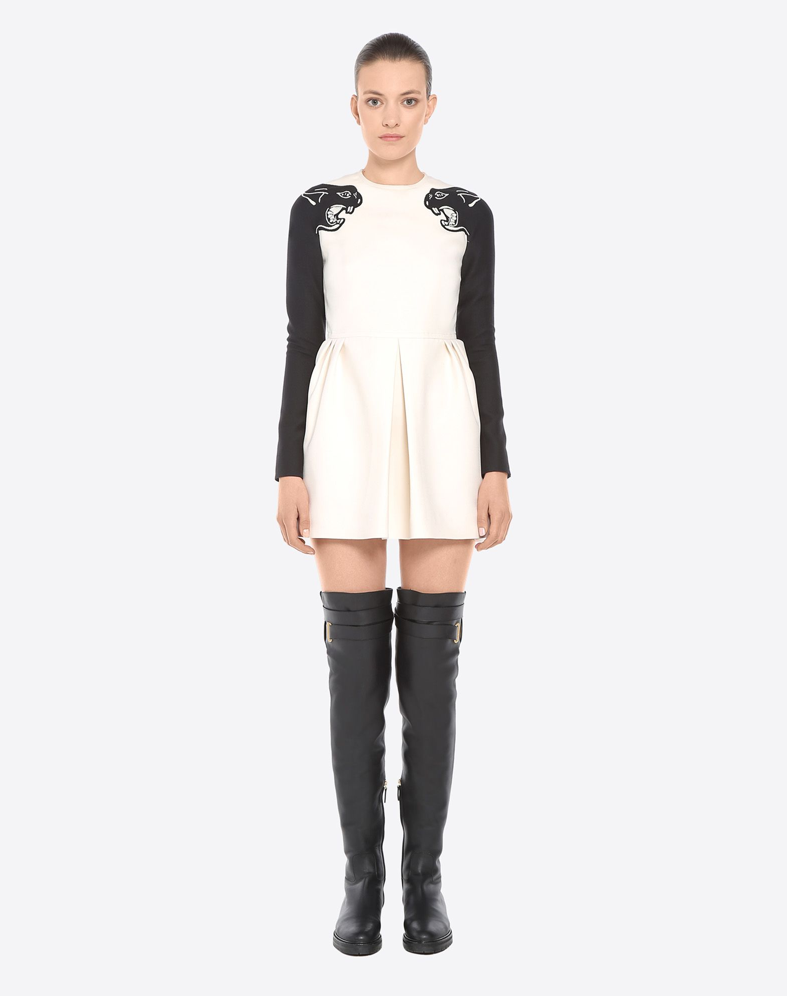 VALENTINO Two-tone pattern Round collar Hook-and-bar, zip Lined interior Long sleeves Crêpe  34750710qx