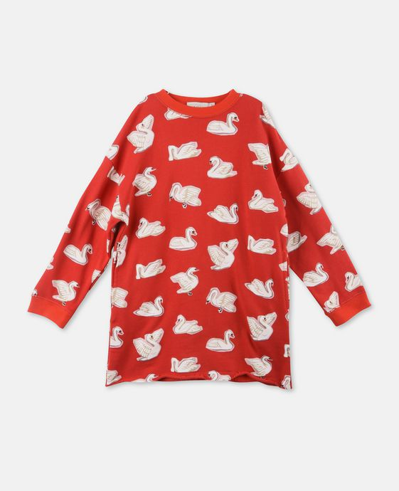 Savannah Red Swan Print Dress