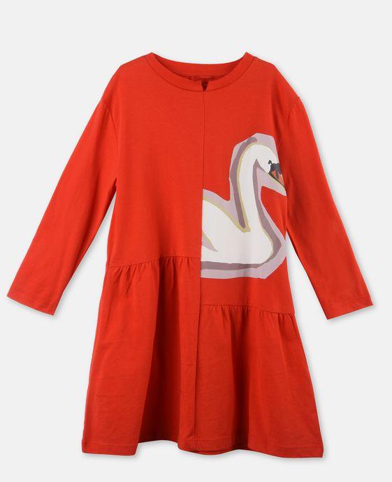 Zelma Red Swan Print Dress