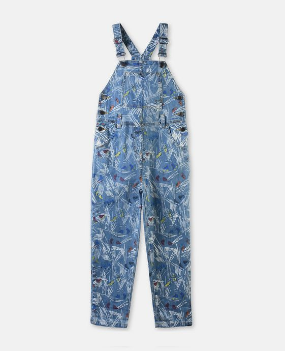 Rudy Denim Scribble and Skate Print Dungarees