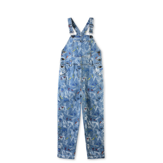 Rudy Denim Scribble and Skate Print Overalls