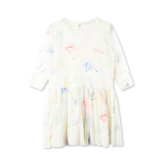 Luna White Scribble and Skates Dress