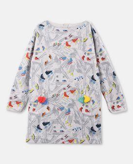 Tonya Gray Scribble and Skates Print Dress