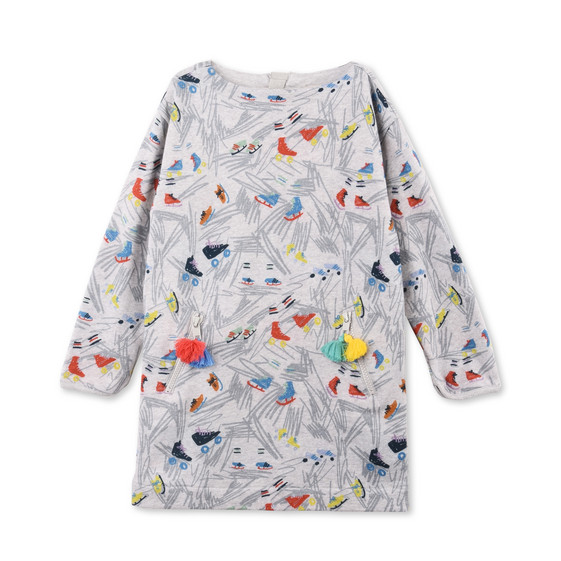 Tonya Gray Scribble and Skates Print Dress