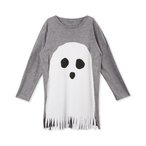 Ghosty Gray Ghost Print Dress