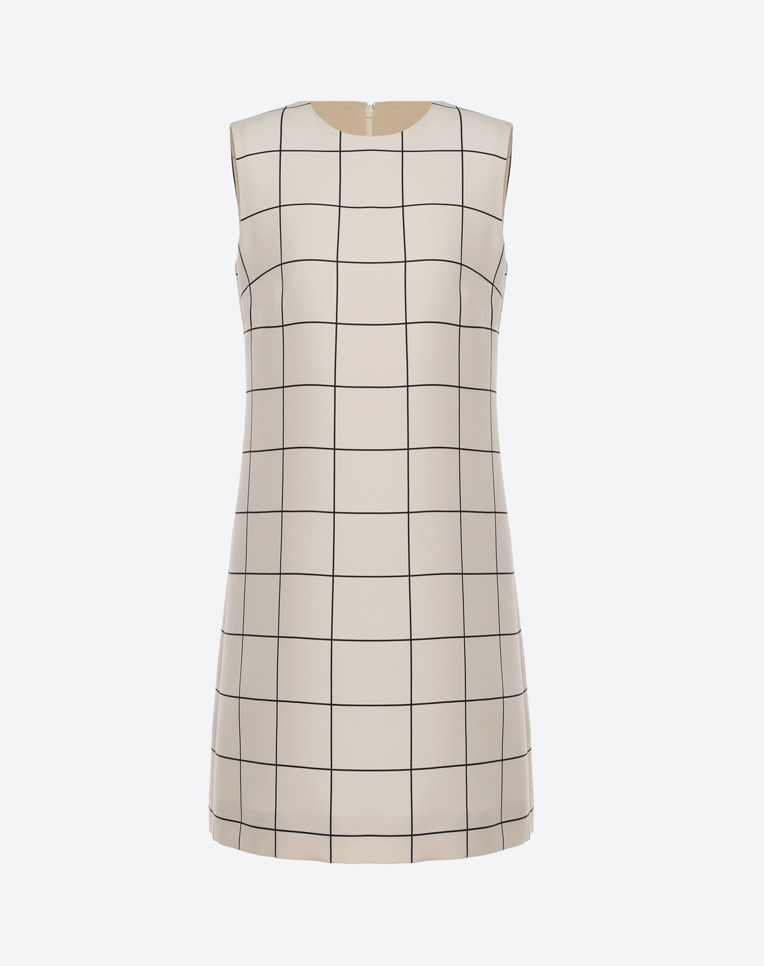 VALENTINO Crêpe Checked design Round collar Hook-and-bar, zip Lined interior Sleeveless  34751815rc