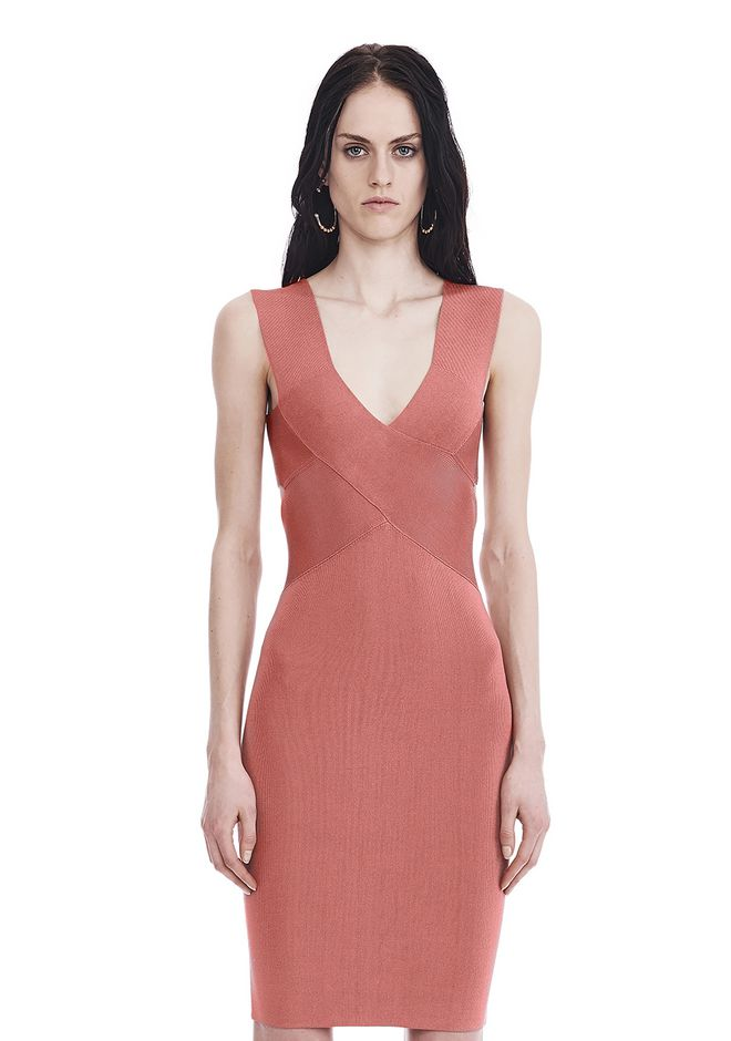 T by ALEXANDER WANG Short Dresses KNIT SLEEVELESS CRISS CROSS MINI DRESS