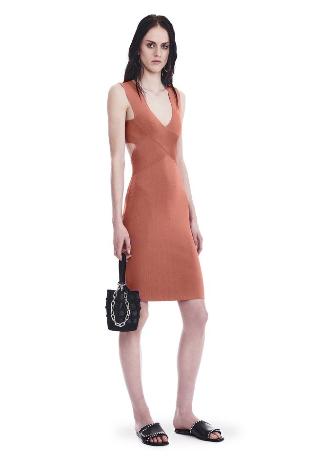 T by ALEXANDER WANG Short Dresses Women KNIT SLEEVELESS CRISS CROSS MINI DRESS