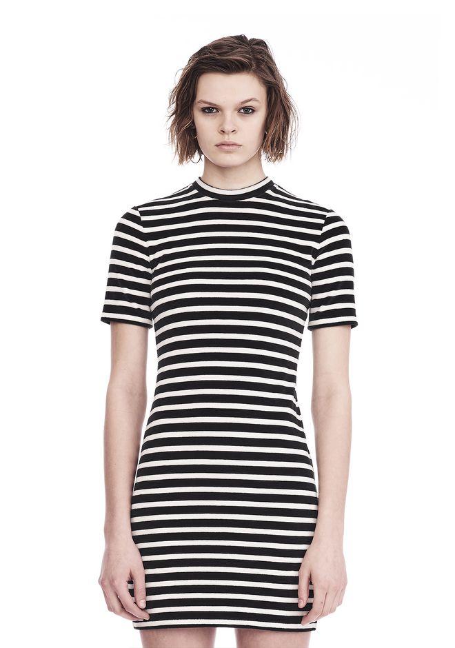 T by ALEXANDER WANG Short Dresses STRIPED VELOUR MOCK NECK MINI DRESS