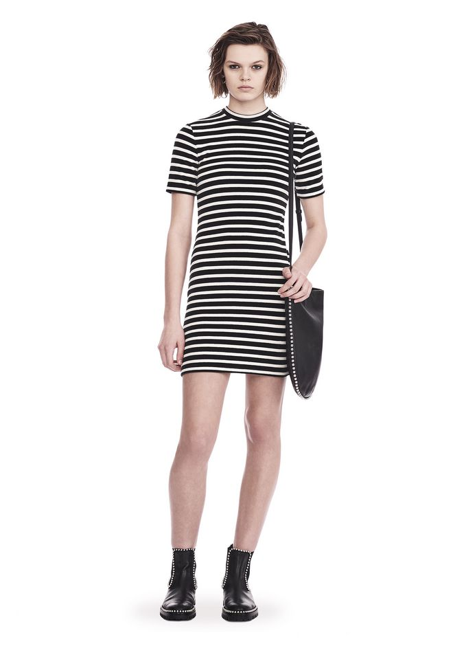 Alexander Wang Cottons STRIPED VELOUR MOCK NECK MINI DRESS