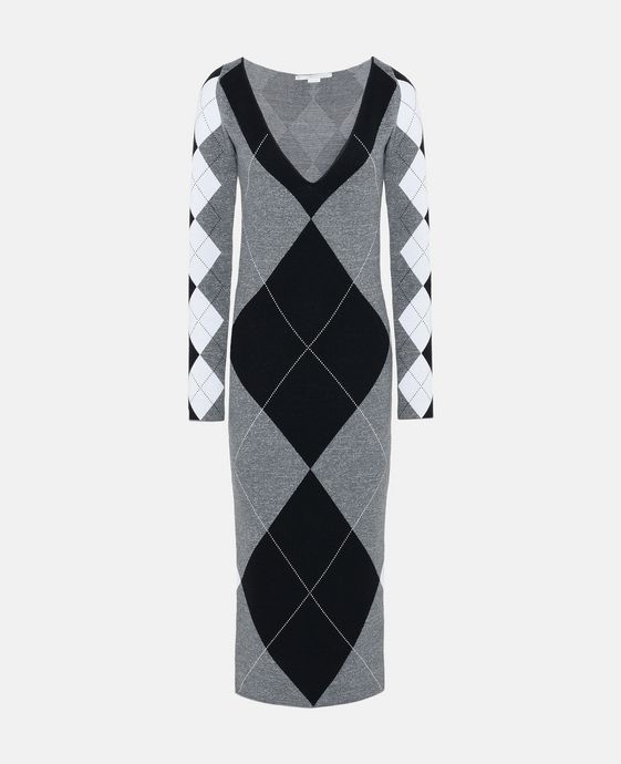 Argyle Check Print Midi Dress