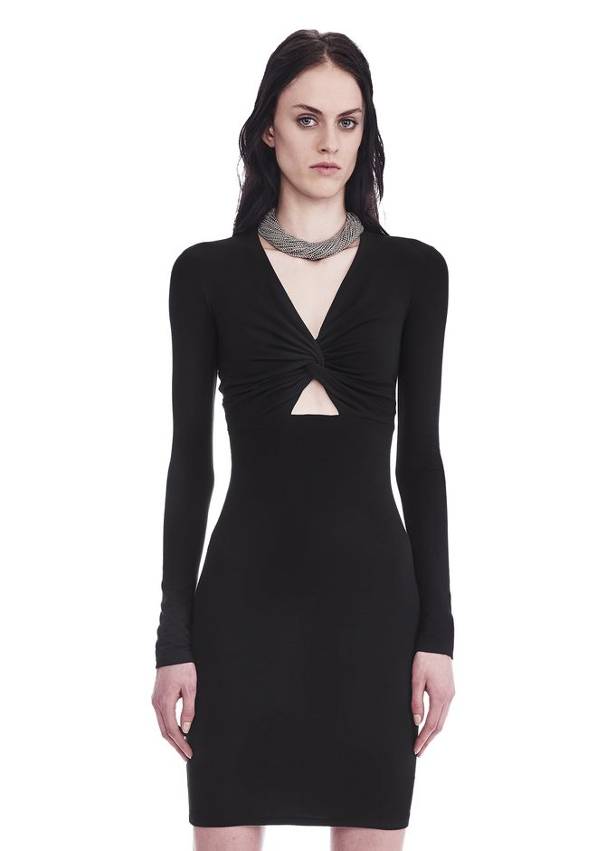 T by ALEXANDER WANG Short Dresses TWIST FRONT LONG SLEEVE DRESS