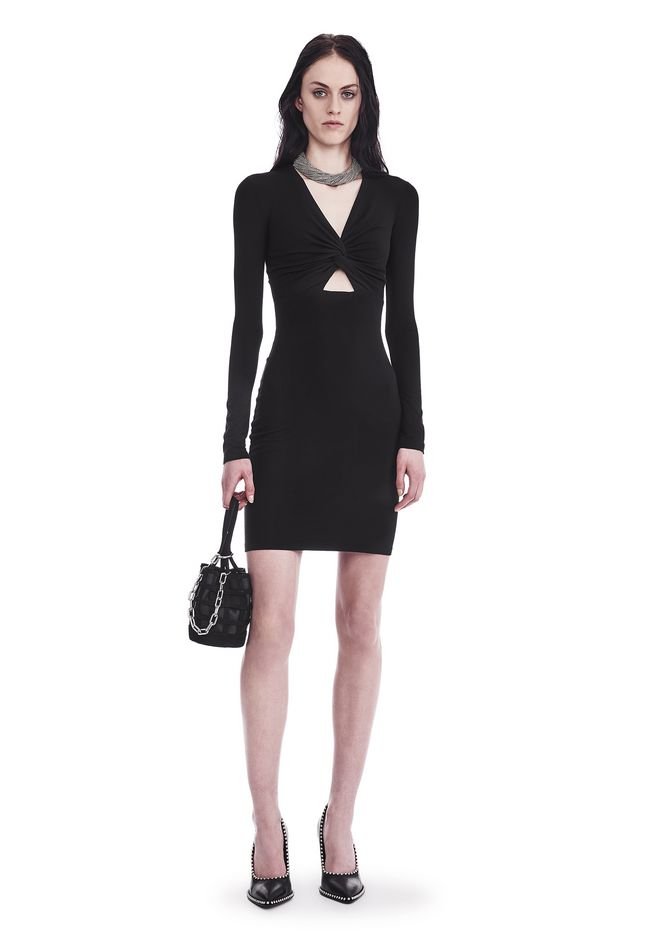 T by ALEXANDER WANG new-arrivals-t-by-alexander-wang-woman TWIST FRONT LONG SLEEVE DRESS